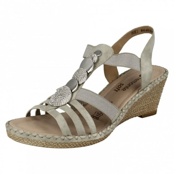 Remonte Dorndorf D6753-40 Grey Wedge Sandal With Jewel Trim