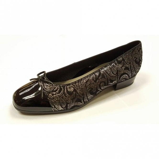 Ara 33708-01 Black Patent Toe Cap Pump Shoe
