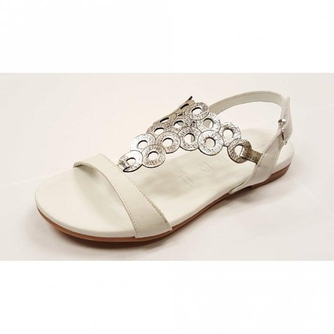 Tamaris 28102-28 White / Silver Leather Sandal