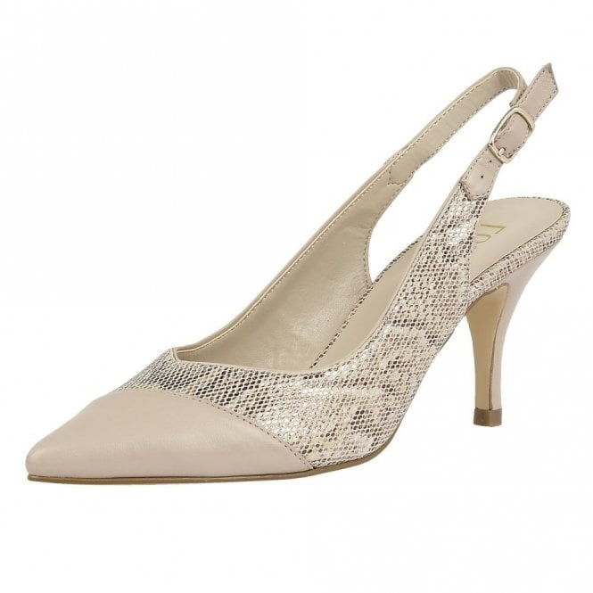 Lotus Leontina Beige Leather & Reptile Print Sling-Back Court Shoes