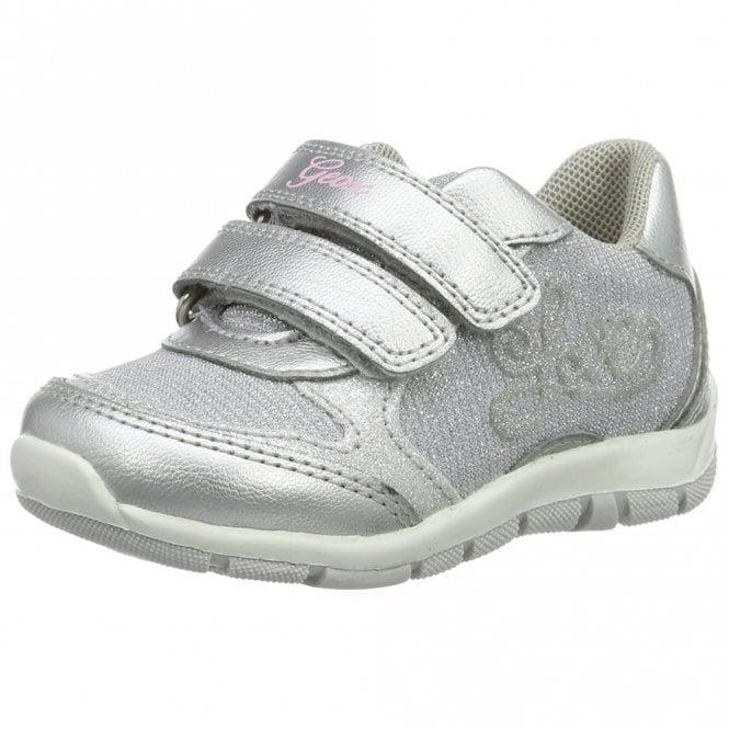 Geox B Shaax G Light Grey / Silver Velcro Girls Shoe