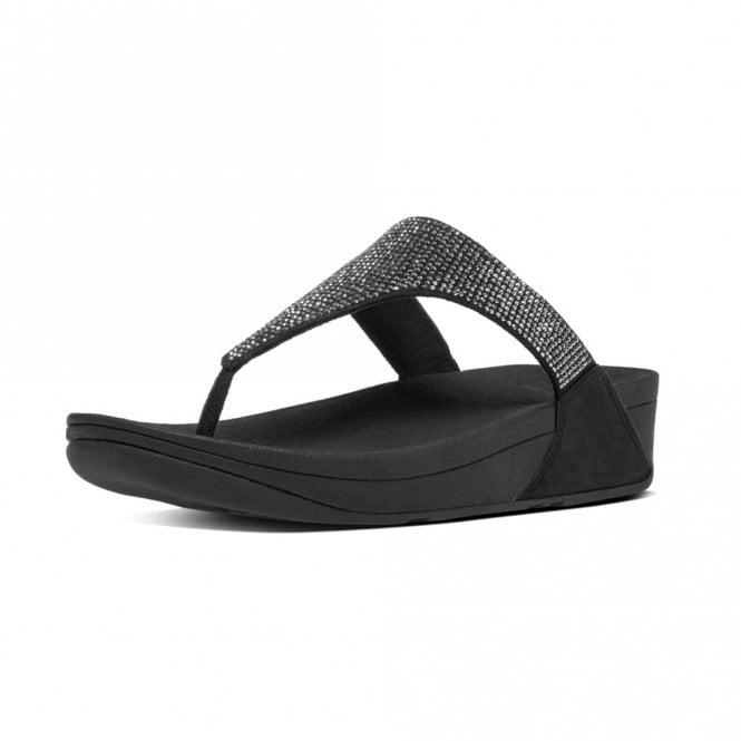 FitFlop Slinky Rokkit Toe-Post Black Sandal