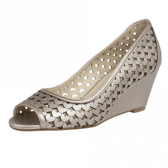 Lotus Valetta Pewter Metallic Lazer-Cut Wedge Shoes