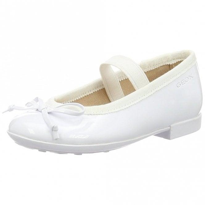 Geox J Plie I J5455I White Patent Girls Shoe