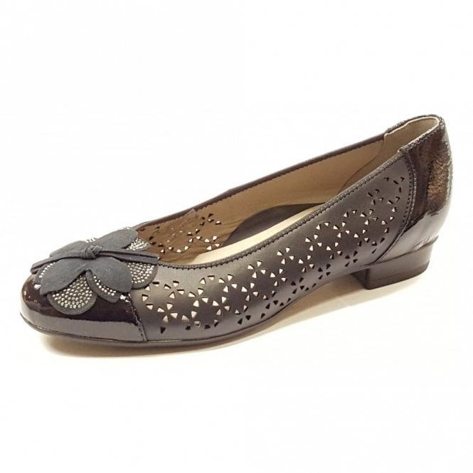 Ara 33762-10 Navy Leather With Navy Patent Toe Pump