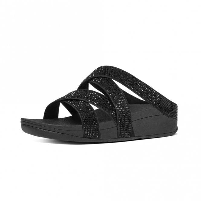 FitFlop Slinky Rokkit Criss-Cross Slide Black Sandal