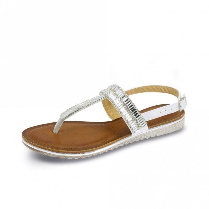 Lunar Rue JLH811 White Sandal with Jewel Trim
