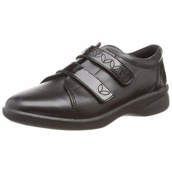 Padders Revive 2 Black Leather Velcro Shoe
