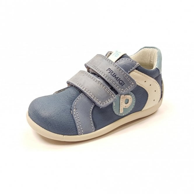 Primigi PSU 7521 Blue / White Leather Boy's Velcro Shoe