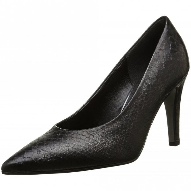 Gabor Arana 51.290.69 Black Leather Snake Print Court Shoe