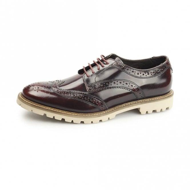 Base London Raid Bordeaux Hi Shine Leather Brogue Shoe