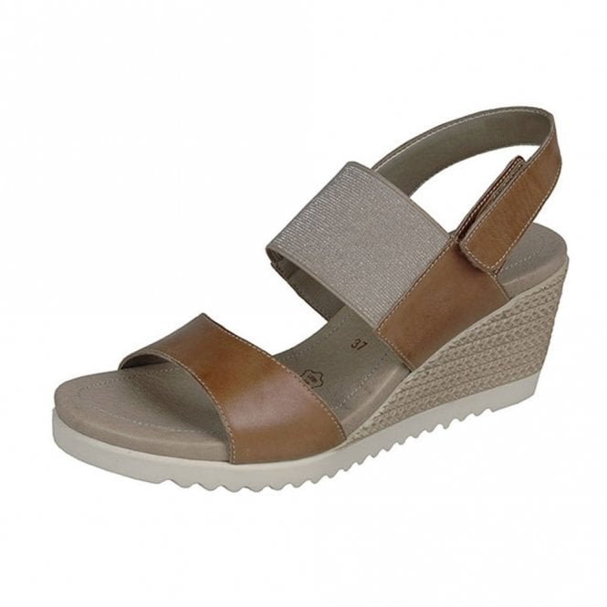 Remonte Dorndorf D3458-20 Tan Leather Wedge Sandal
