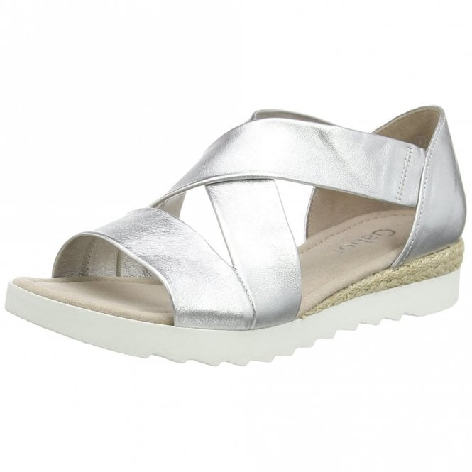 Gabor Promise 62.711.10 Silver Leather Wedge Sandal