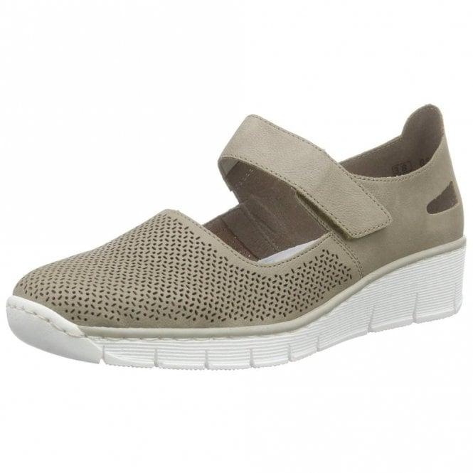 Rieker 53767-42 Grey Velcro Wedge Shoe