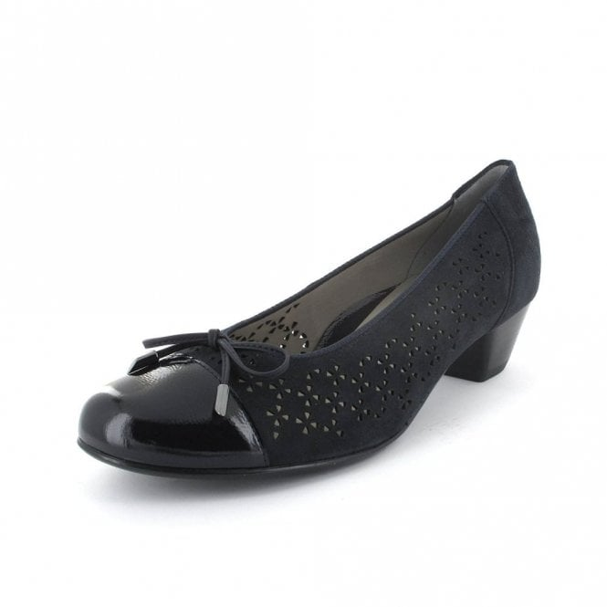 Ara 33668-02 Navy Suede With Navy Patent Toe Pump