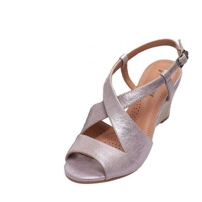 Van Dal Allora Bamboo Metallic Leather Wedge Sandal