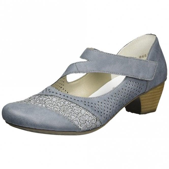 Rieker 41743-12 Blue Leather Velcro Shoe