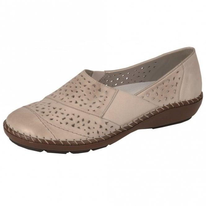 Rieker 44856-60 Beige Leather Comfort Shoe