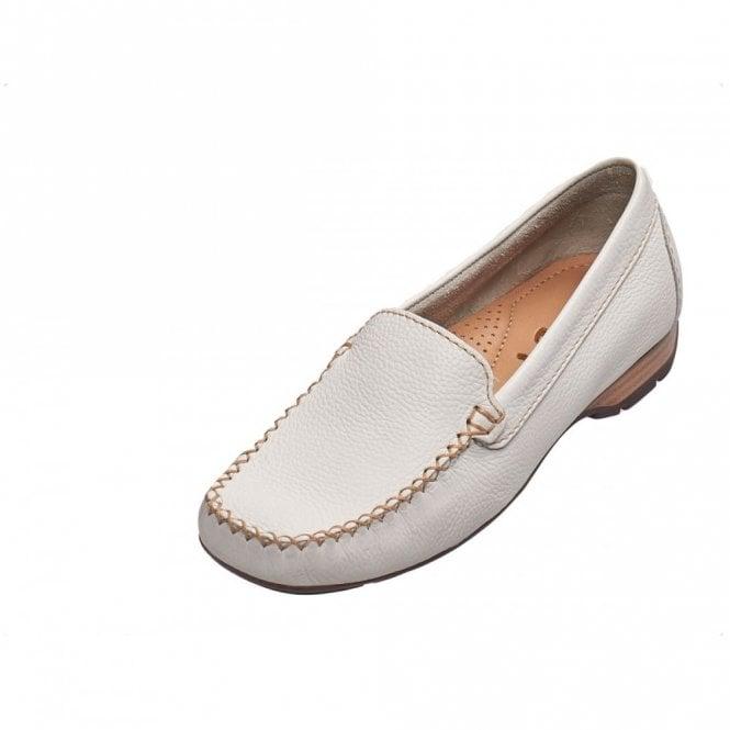 Van Dal Sanson Off White Leather Loafer Moccasin Shoe
