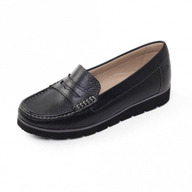 Padders Nola Black Leather Moccasin Shoe