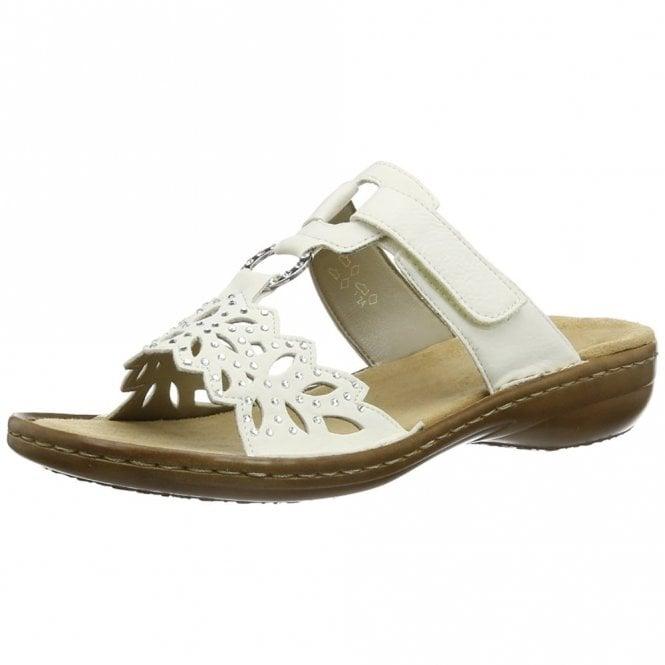 Rieker 608A6-80 White Synthetic Sandal