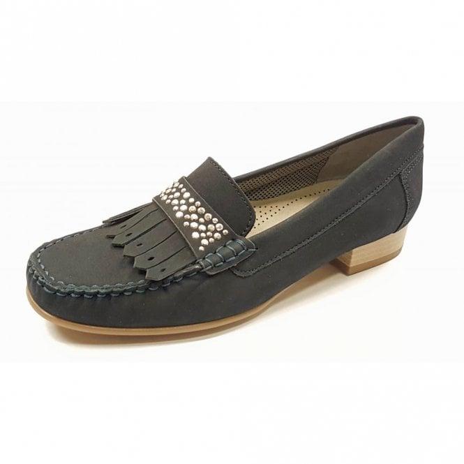 Jenny 50171-02 Navy Nubuck Loafer Shoe With Studded Trim