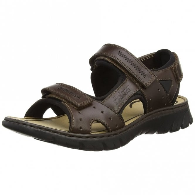 Rieker 26757-27 Brown Leather Mens Velcro Sandal