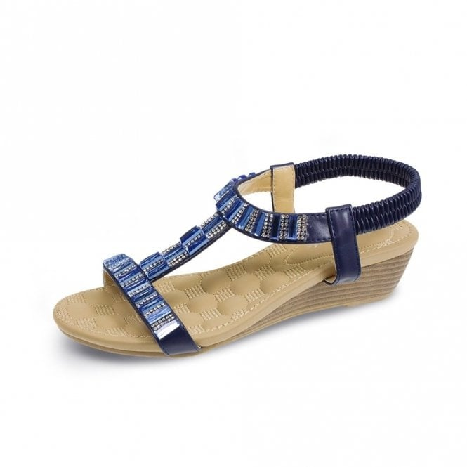 Lunar Reynolds JLH877 Navy Wedge Sandal with Diamonte Trim