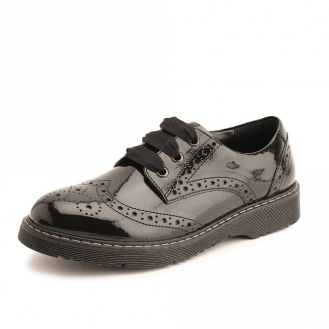 Angry Angels Impulsive Black Patent Brogue Lace Up Shoe