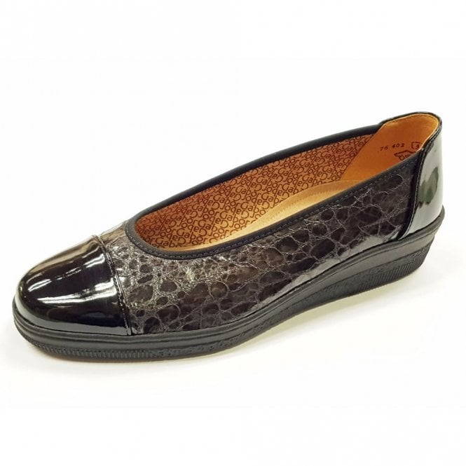 Gabor Petunia 76.402.97 Black Patent / Croc Pump Shoe