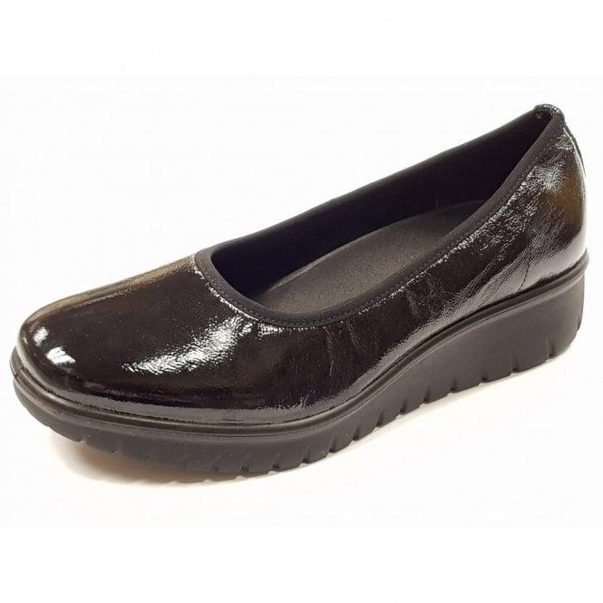 Romika Varese N 09 Black Crinkle Patent Wedge Shoe