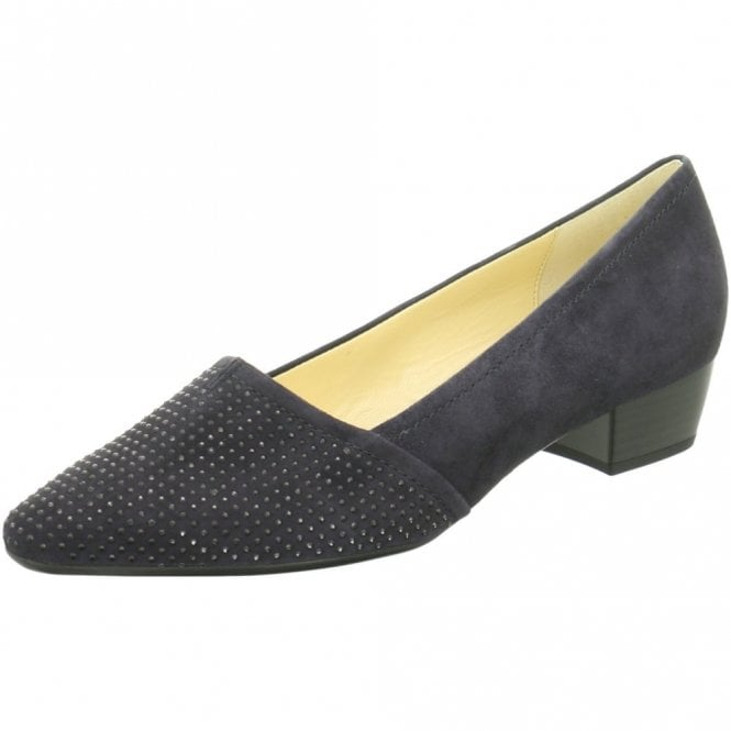 Gabor Azalea 75.134.16 Dark Navy Suede Court Shoe