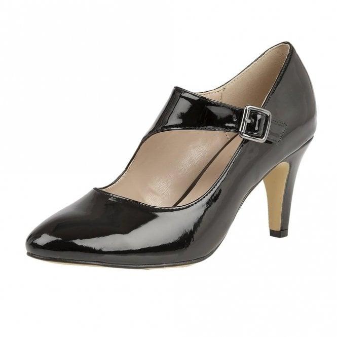 Lotus Laurana Black Patent Court Shoe