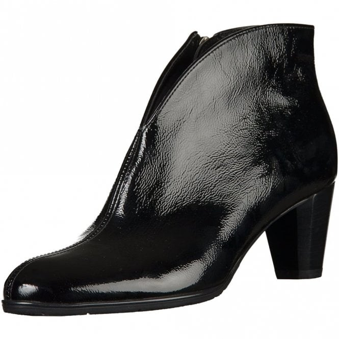 Ara 43408-76 Black Crinkle Patent Ankle Boot