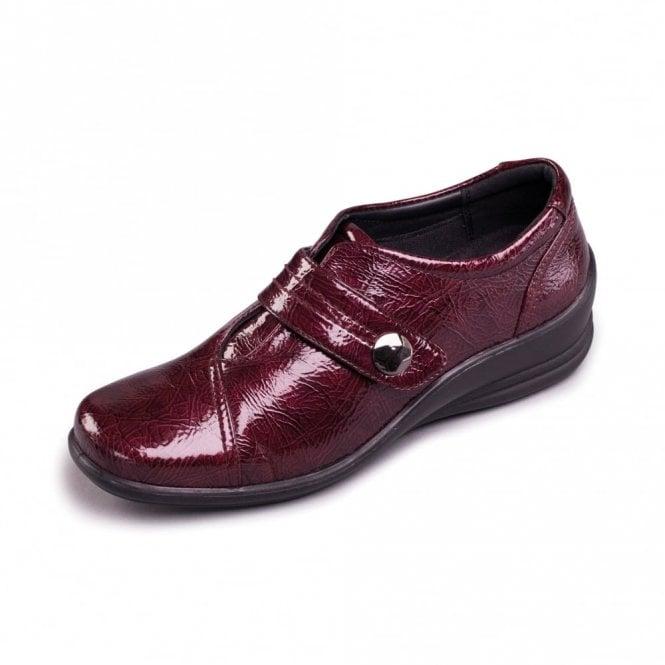 Padders Simone Burgundy Patent Velcro Shoe