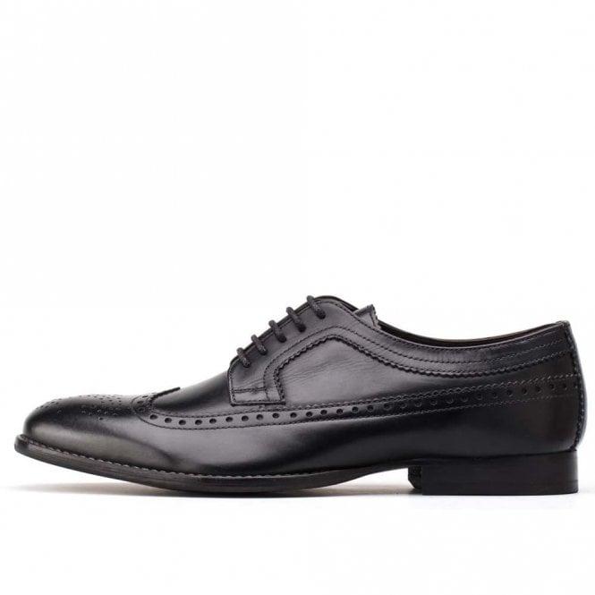 Base London Bailey Waxy Black Leather Lace Derby Brogue Shoe