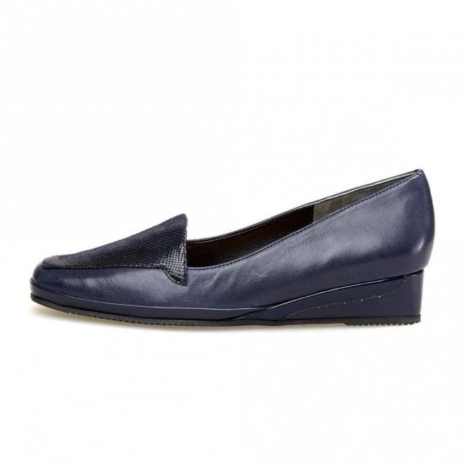 Van Dal Verona III Navy Leather / Reptile Print Wedge Shoe