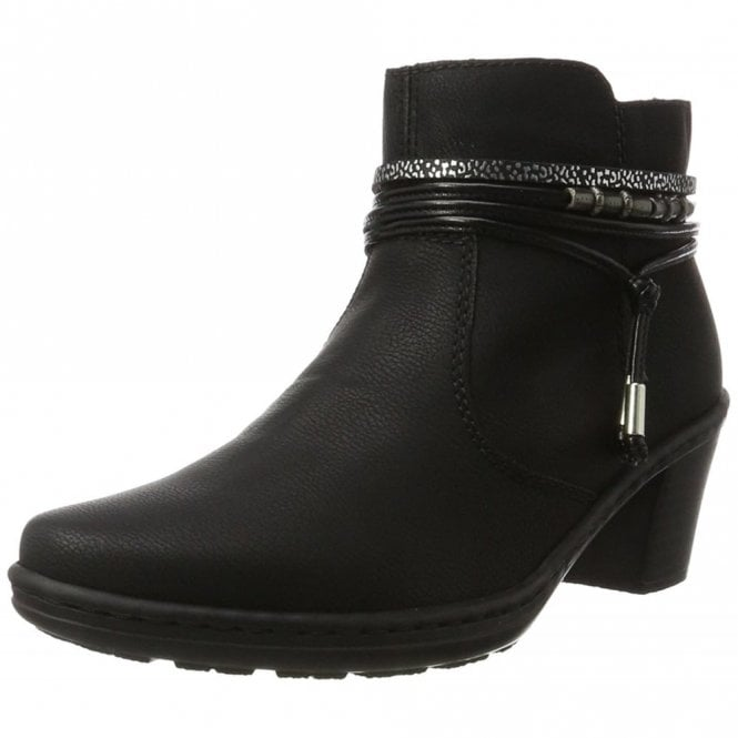 Rieker 54953-00 Black Synthetic Ankle Boot