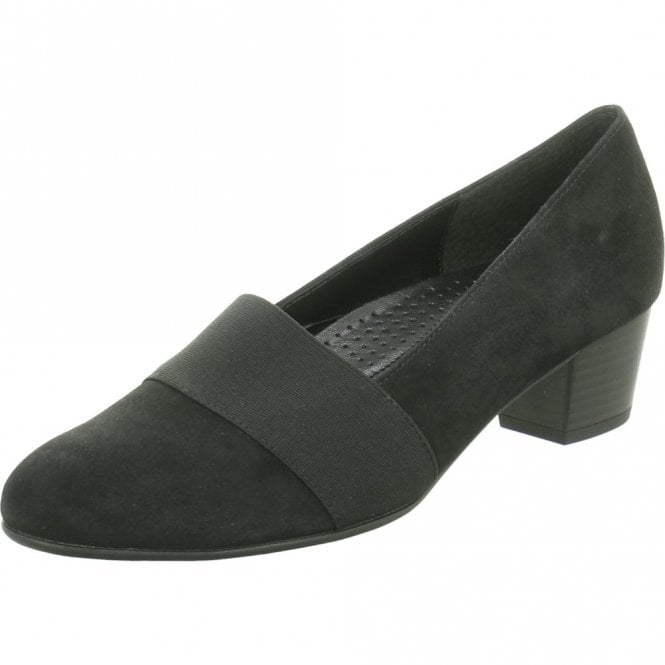 Gabor Sovereign 72.052.47 Black Nubuck Court Shoe