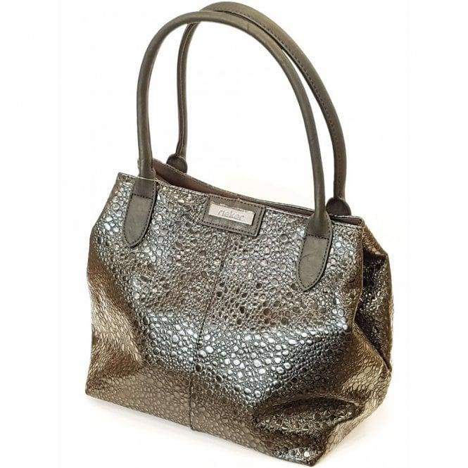 Rieker H1411-00 Black Patent Patterned Handbag