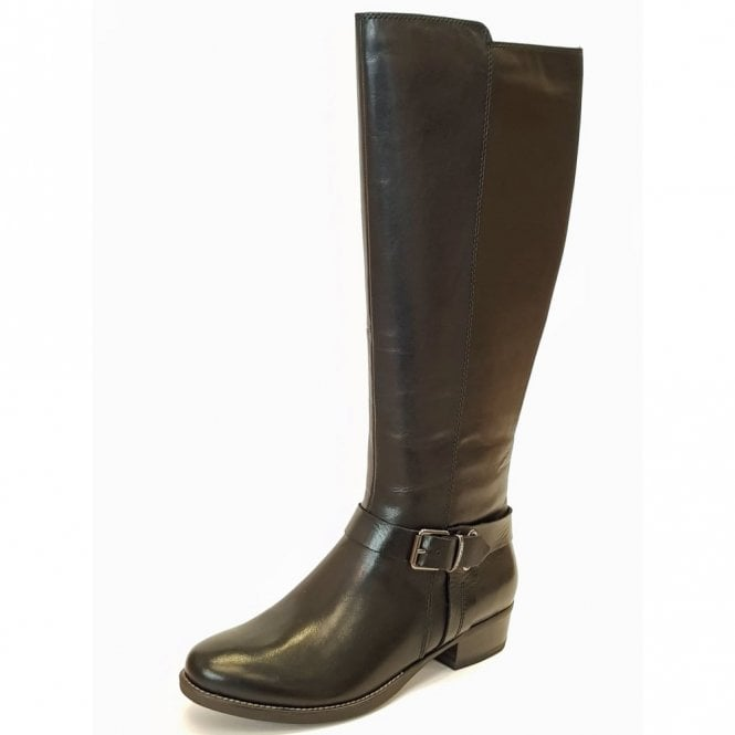 Tamaris 25521-29 Black Leather with Buckle Trim Boot