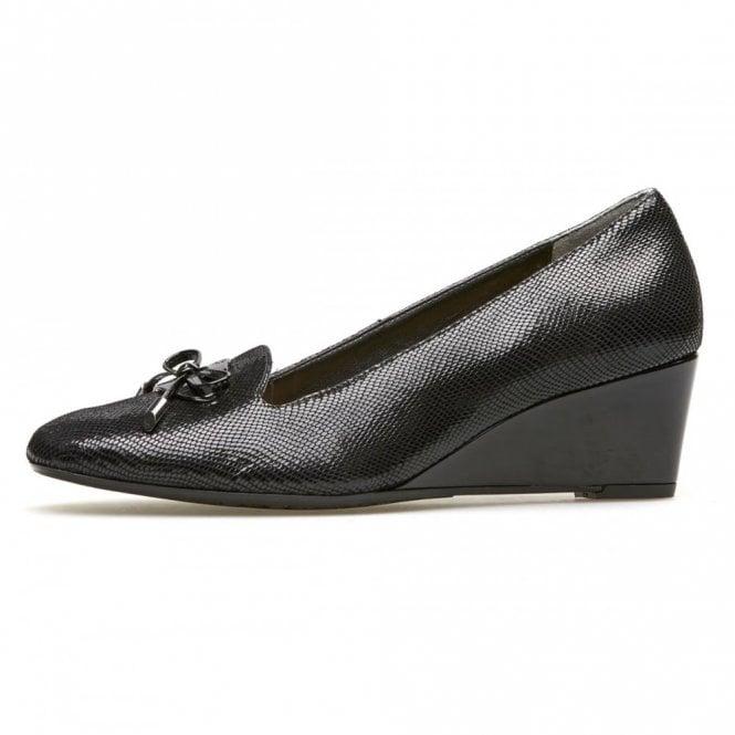 Van Dal Culpeper Black Reptile Print Wedge Shoe