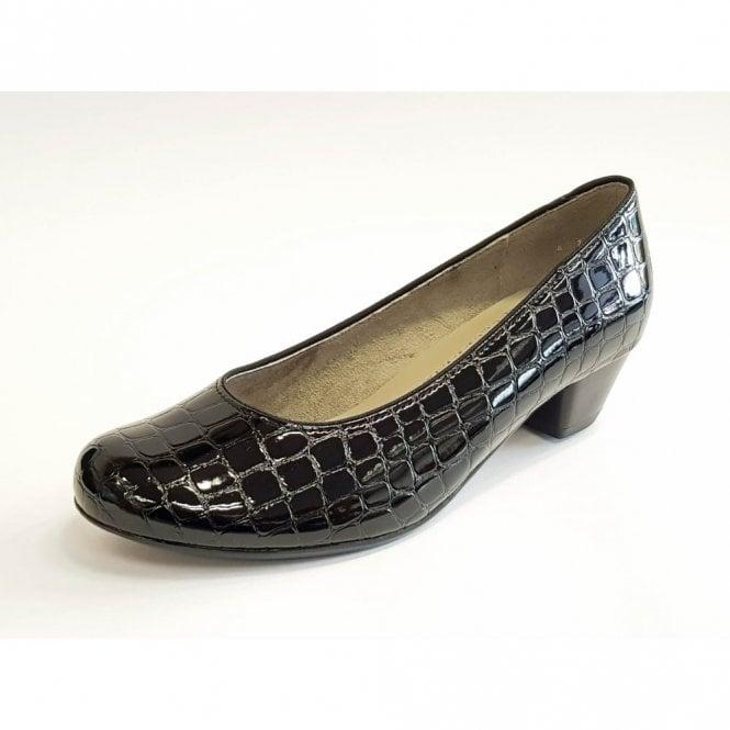 Jenny 63613-70 Black Patent Croc Court Shoe