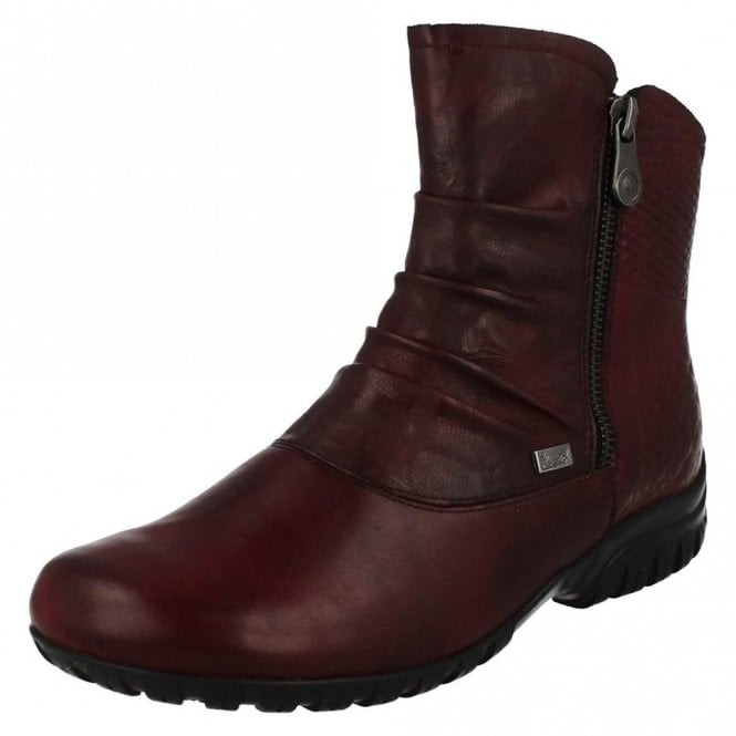 Rieker Z4663-35 Dark Red Leather Twin Zip Water Resistant Ankle Boot