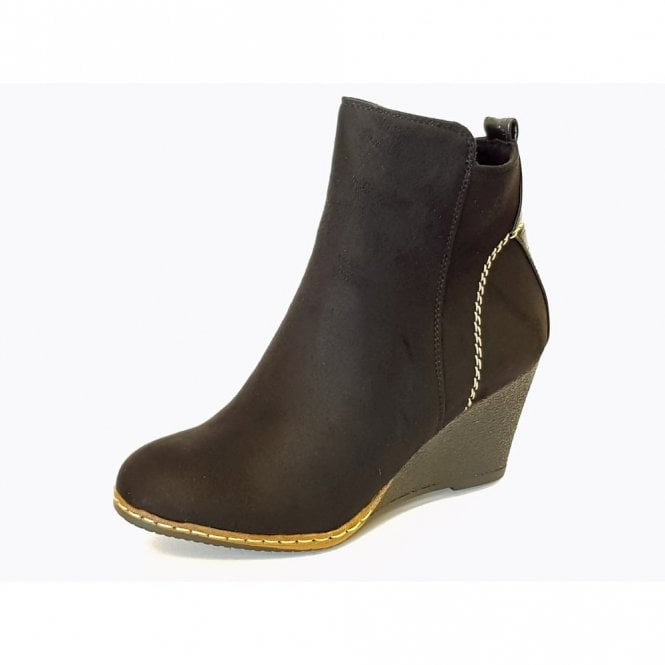 Lunar Pesaro GLC601 Black Synthetic Suede Wedge Ankle Boot