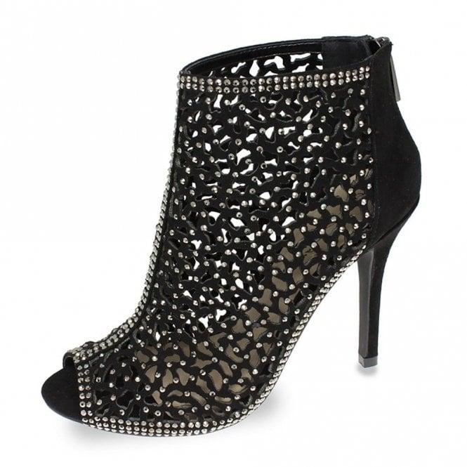 Lunar Destiny FLR443 Black Ladies Diamante Ankle Boot