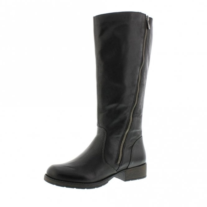 Rieker Z9581-00 Black Leather Riding Style Boot