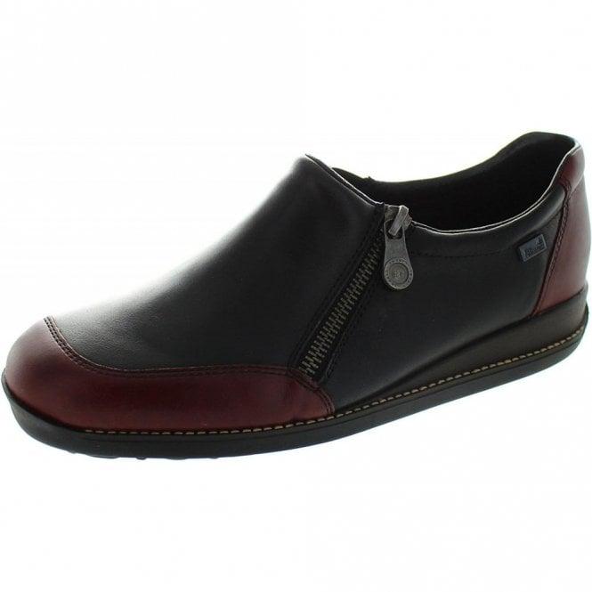 Rieker 44294-35 Black / Burgundy Leather Waterproof Shoe
