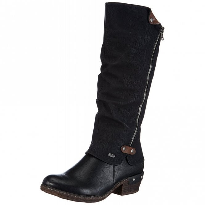 Rieker 93655-00 Black Synthetic Warm Lined Water Resistant Boot