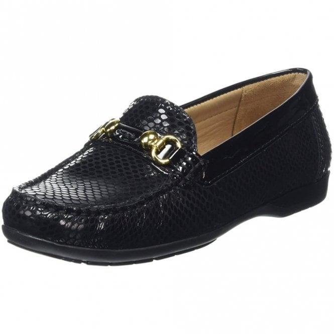 Van Dal Ashfield Black Python Print / Patent Loafer Moccasin Shoe